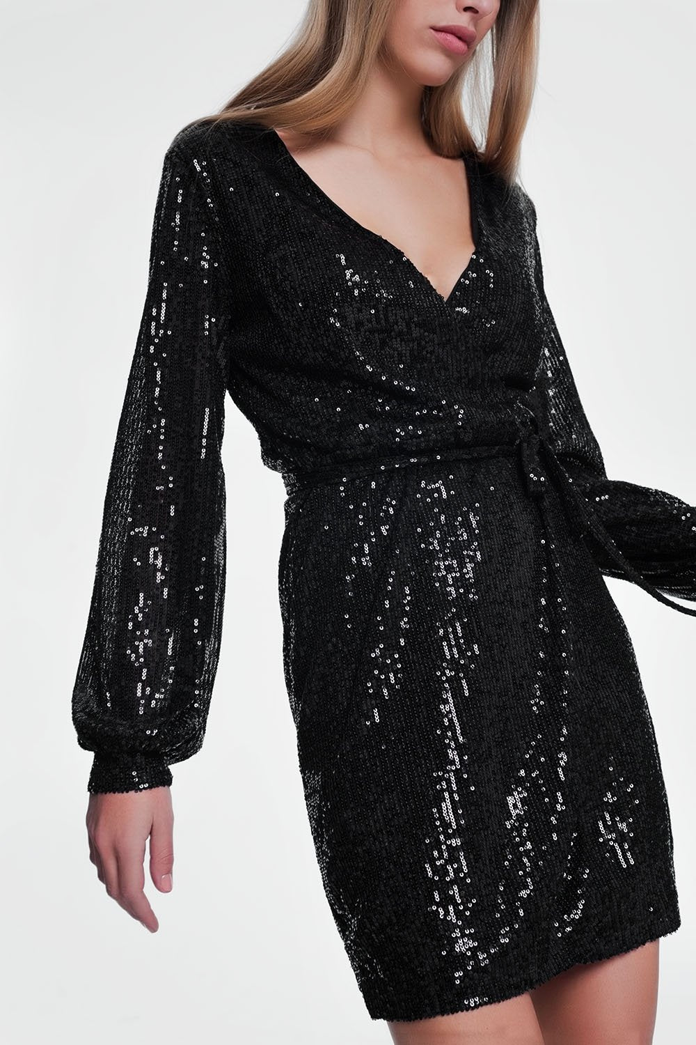 Black Nightdress With Long Sleeves - KATANA FASHION BOUTIQUE