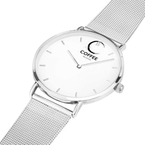 COFFEE RELIGION COFFEE TIME Silver Minimalist Watch