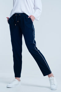 Navy blue Q2 pants with lateral line - KATANA FASHION BOUTIQUE