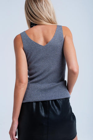 Gray ribbed tank top - KATANA FASHION BOUTIQUE