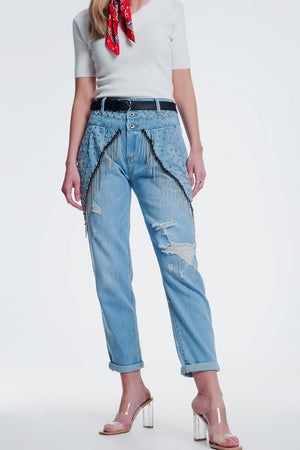 Vintage Ripped Straight Jeans With Studs and Chains - KATANA FASHION BOUTIQUE