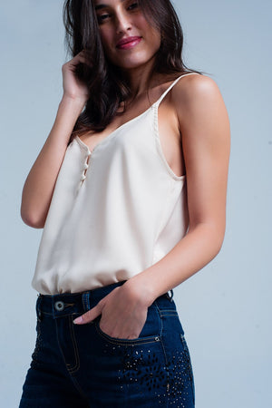 Beige Cami Top With Buttons - KATANA FASHION BOUTIQUE