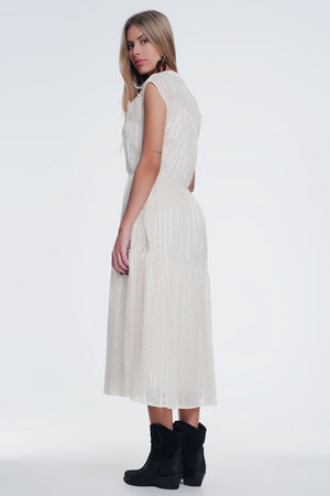 Textured Button Through Smock Dress With Tiered Skirt in Beige - KATANA FASHION BOUTIQUE