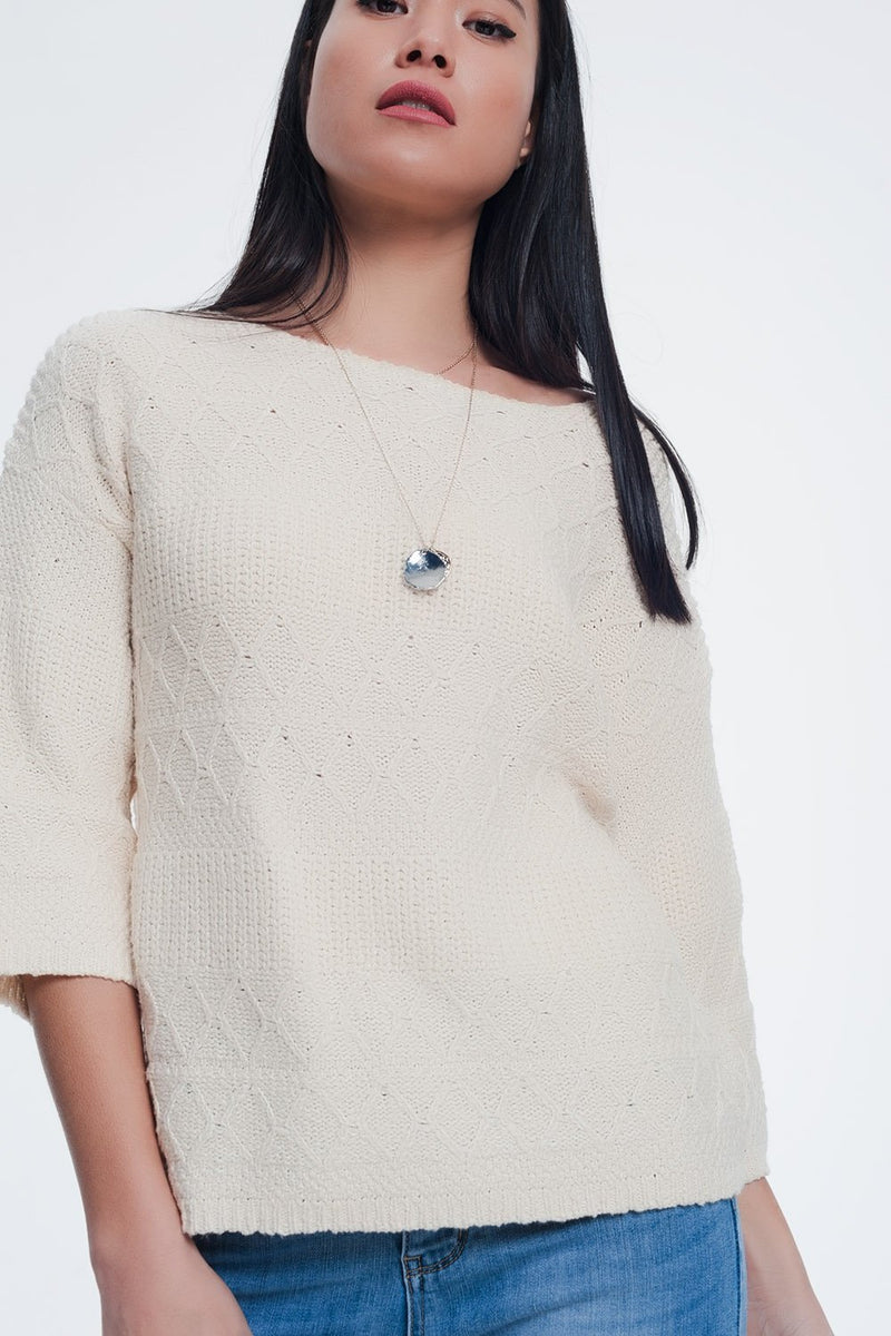 Cream Coloured Sweater With Knitted Patterns - KATANA FASHION BOUTIQUE