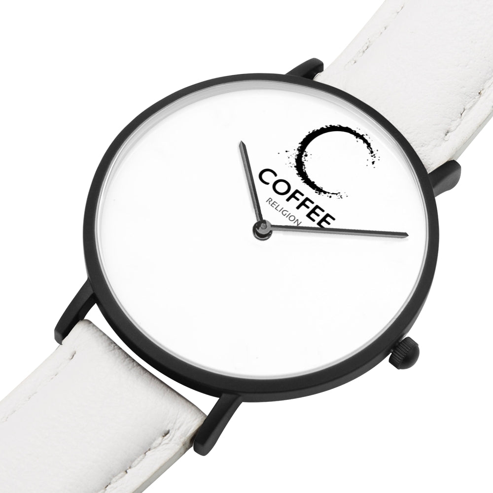 COFFEE RELIGION Brand Watch TIME White Leather Strap - KATANA FASHION BOUTIQUE