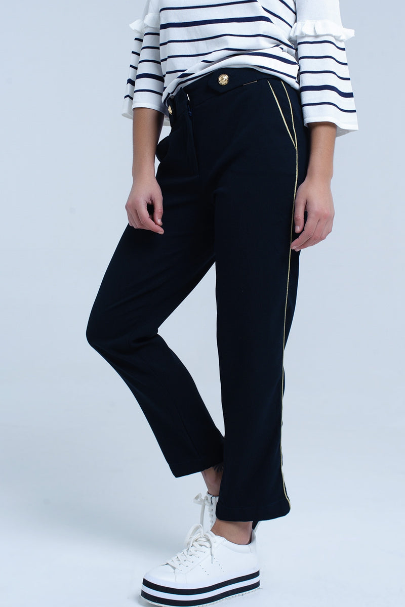 Navy pants with contrast trim - KATANA FASHION BOUTIQUE