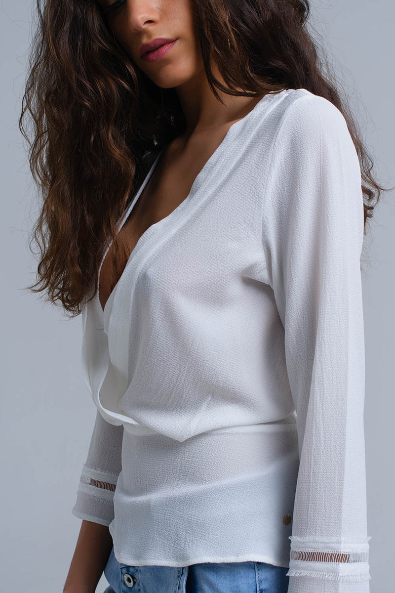 White crossed shirt with ribbons - KATANA FASHION BOUTIQUE