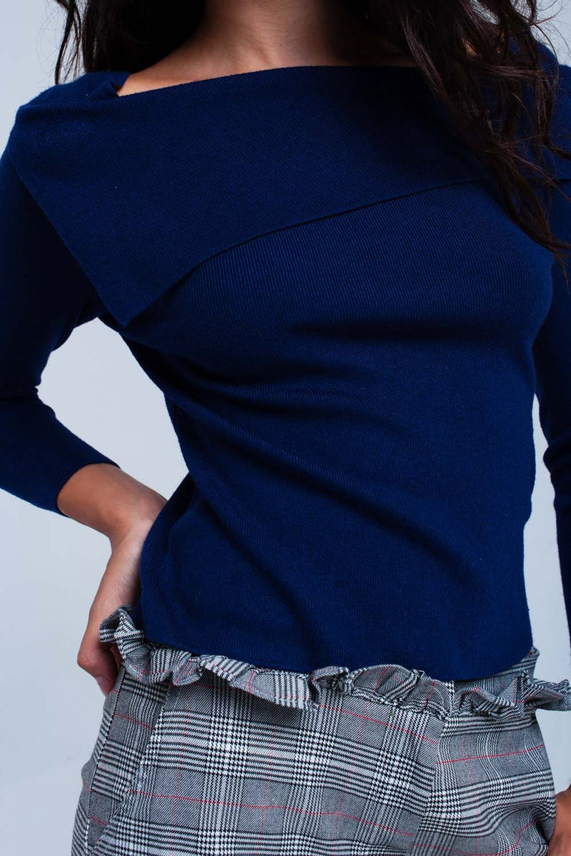 Navy off shoulder sweater - KATANA FASHION BOUTIQUE