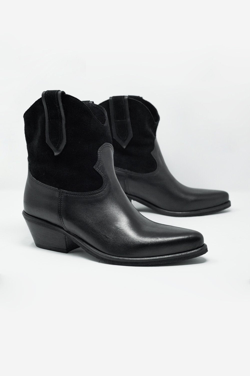 Q2 Black Western Sock Boots With Suede Detail