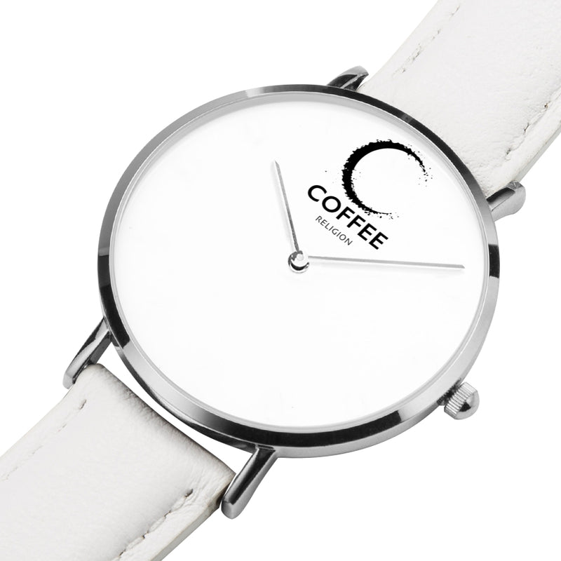 COFFEE RELIGION COFFEE TIME White Real Leather Minimalist Watch with Silver - KATANA FASHION BOUTIQUE