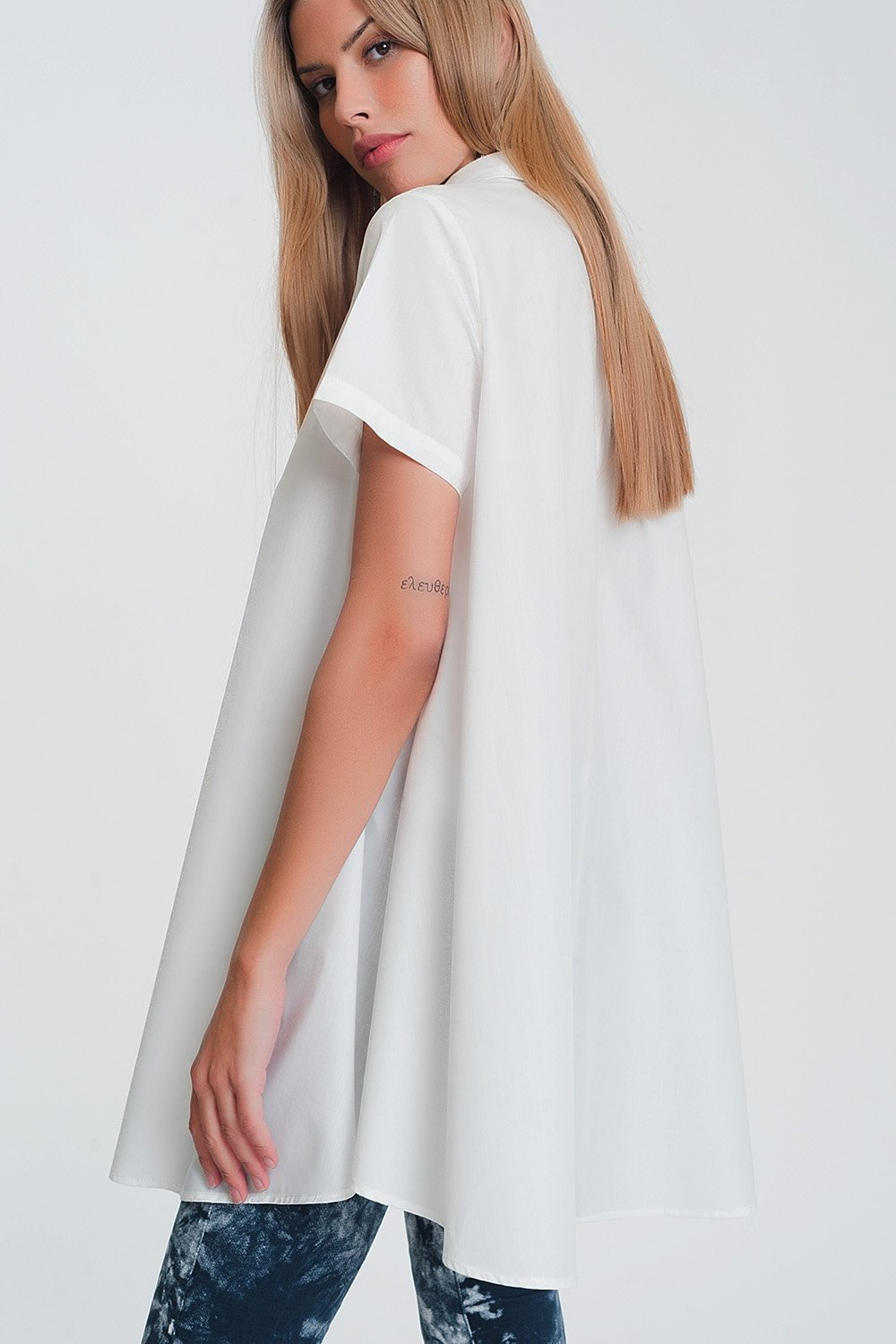 Short Sleeves Oversized Poplin Shirt in White