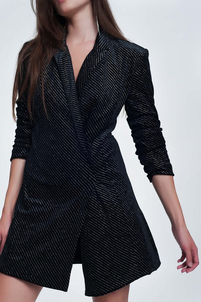 Naomi Mini Blazer Dress Dress in Black With Shiny Print - KATANA FASHION BOUTIQUE