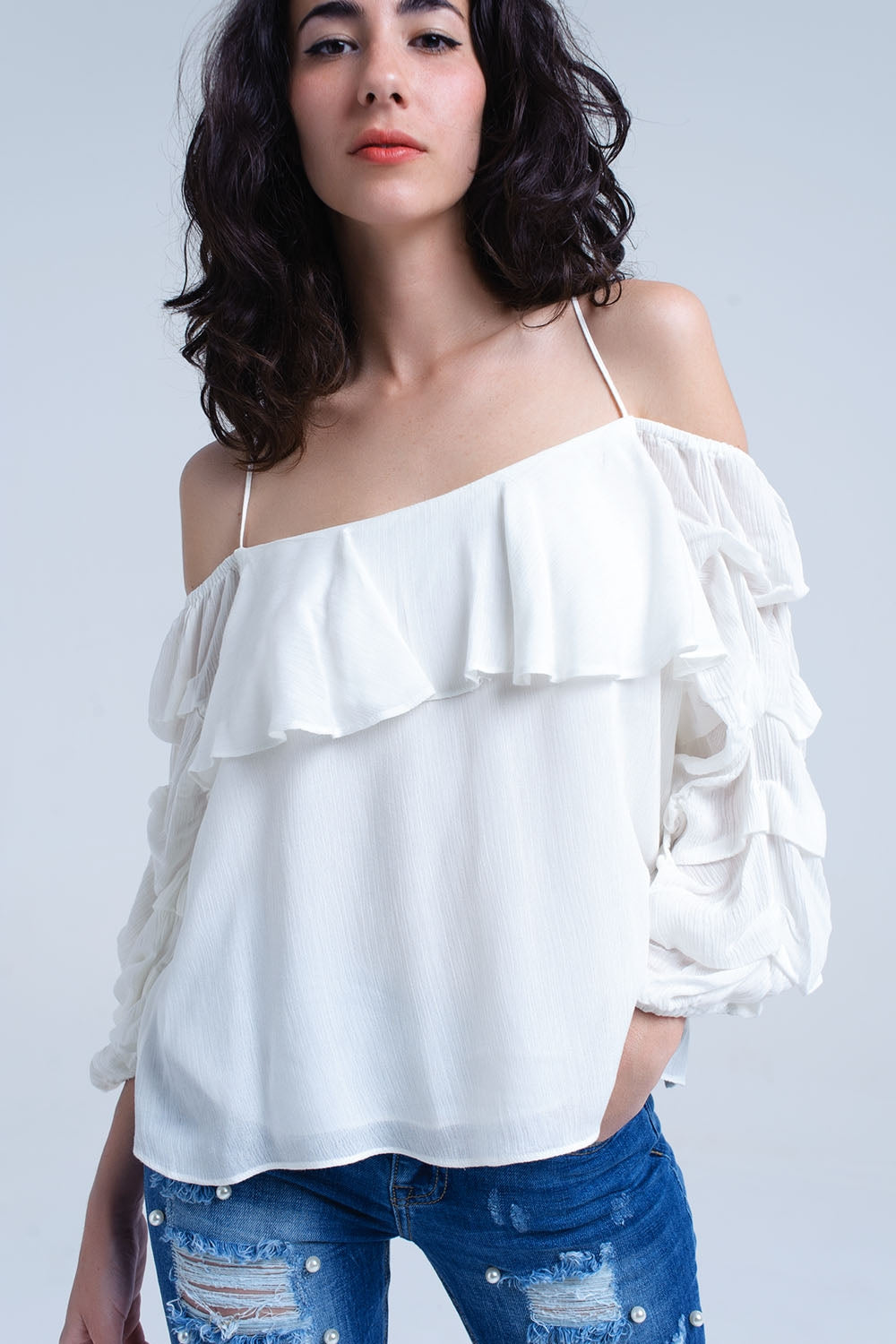 White top with 3/4 ruched sleeve