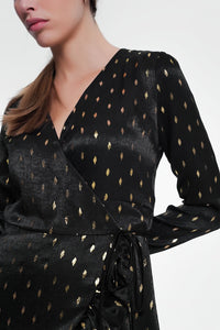 Black Dress With Gold Shiny Spots - KATANA FASHION BOUTIQUE