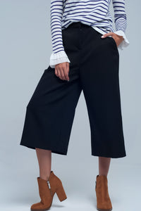 Q2 Culotte Wide Crop Pant in Black - KATANA FASHION BOUTIQUE