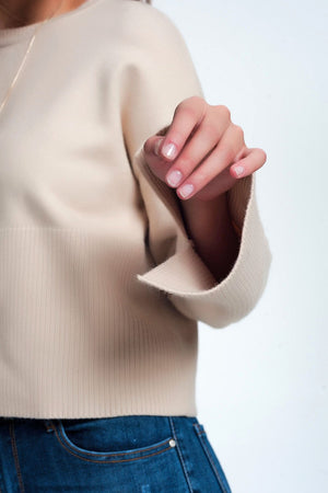 Beige Sweater With Long Sleeves - KATANA FASHION BOUTIQUE