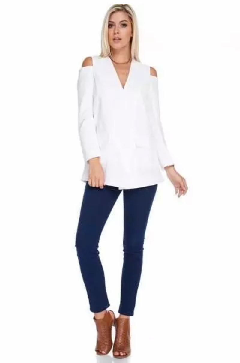 Cold Shoulder White Power Blazer