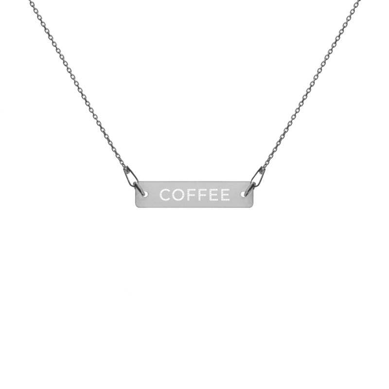 "Coffee Religion by Katana Engraved ""COFFEE"" Black Rhodium Chain Necklace"