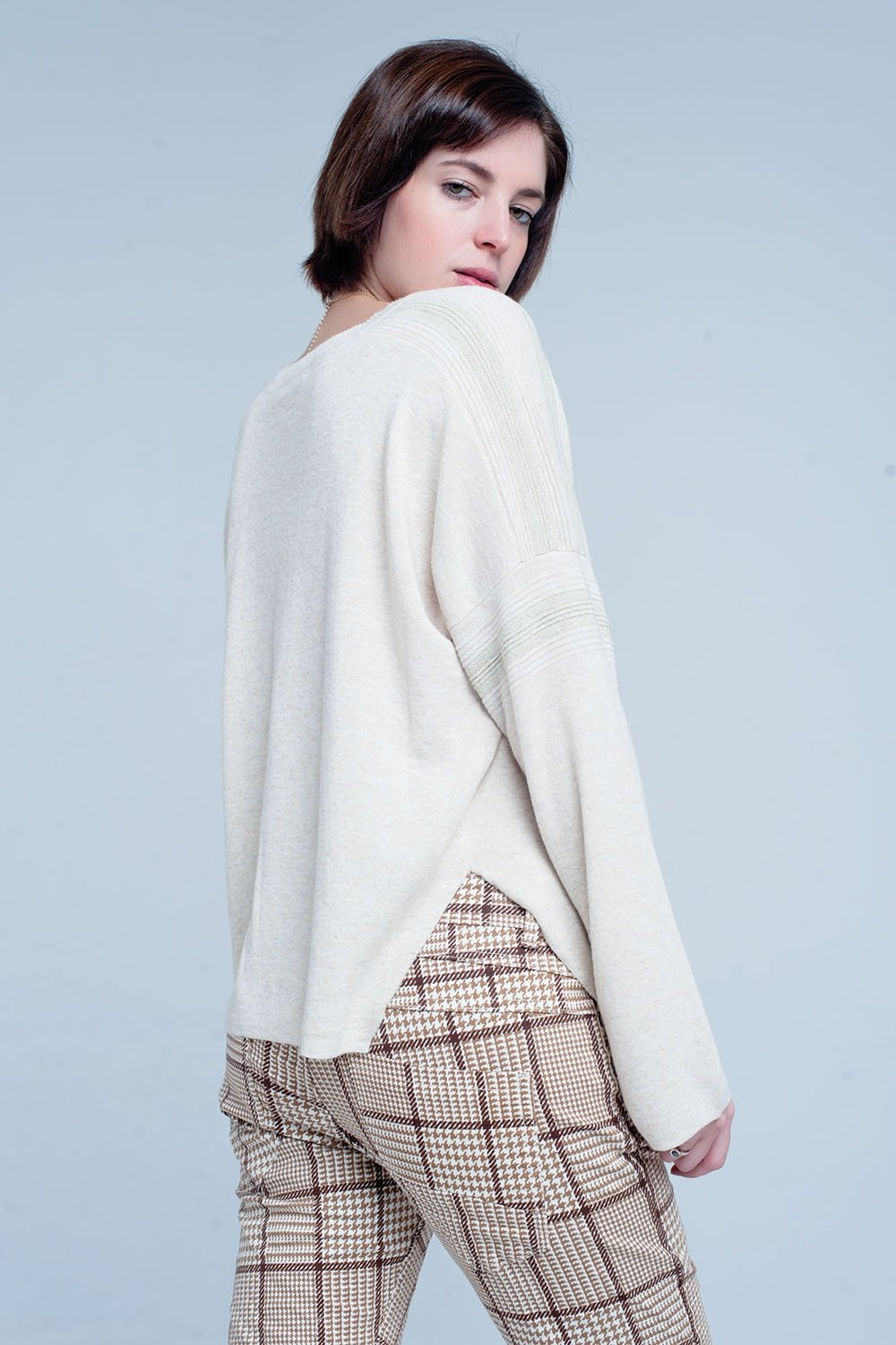 Beige Fine Knitted Sweater With Glitter Details