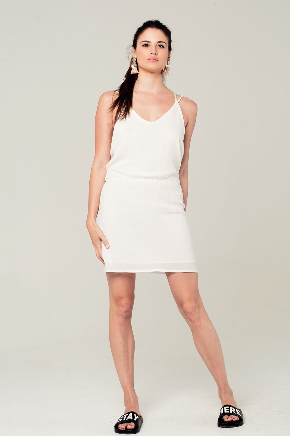 White Mini Dress With Back Crochet Detail - KATANA FASHION BOUTIQUE