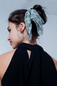 Grey Scarf With Black Print - KATANA FASHION BOUTIQUE