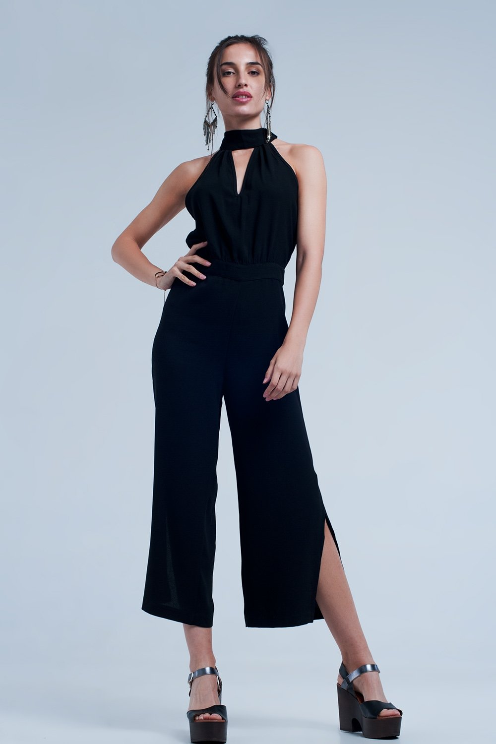 Halter Neck Jumpsuit in Black