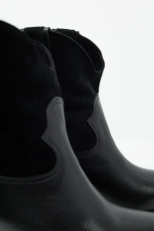 Q2 Black Western Sock Boots With Suede Detail - KATANA FASHION BOUTIQUE
