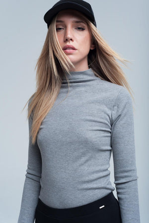 Ribbed Top in Grey - KATANA FASHION BOUTIQUE