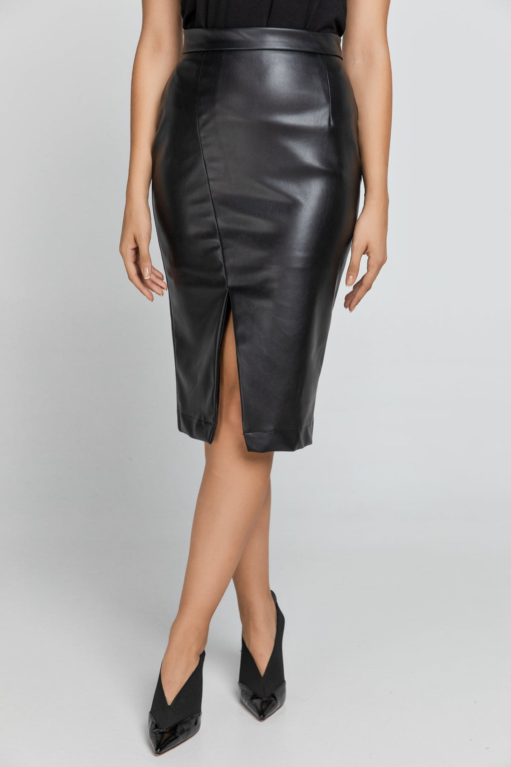 Black Faux Leather Pencil Slit Skirt by Conquista Fashion - KATANA FASHION BOUTIQUE