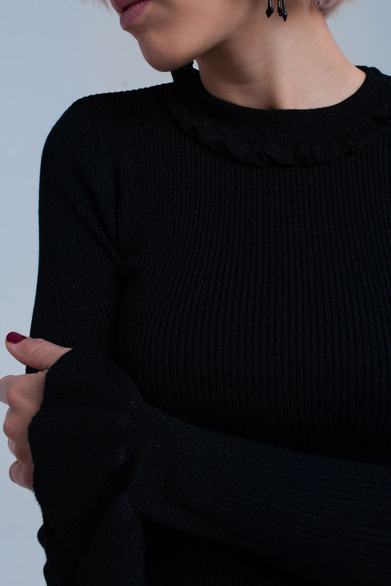 Black shiny sweater Top with ruffle Sleeves - KATANA FASHION BOUTIQUE