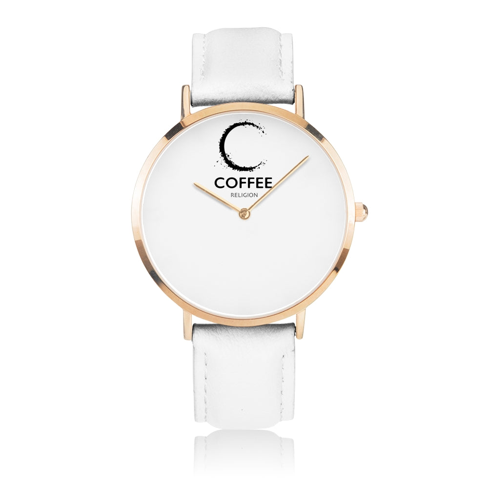 COFFEE RELIGION COFFEE TIME White Gold Leather Starp Watch - KATANA FASHION BOUTIQUE