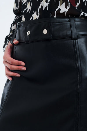 Mini Black Skirt in Faux Leather - KATANA FASHION BOUTIQUE