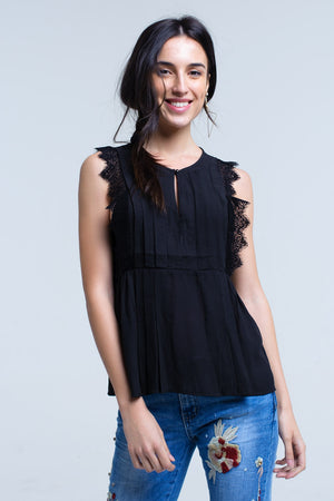 Black top with lace detail - KATANA FASHION BOUTIQUE