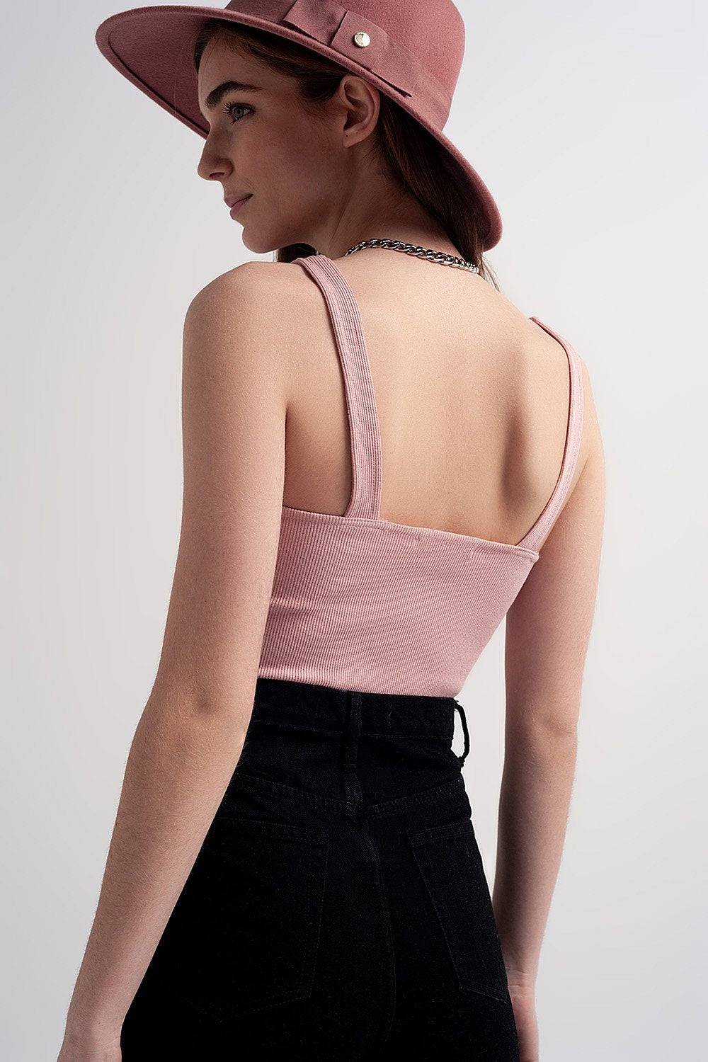 Rib Crop Top in Pink Blush
