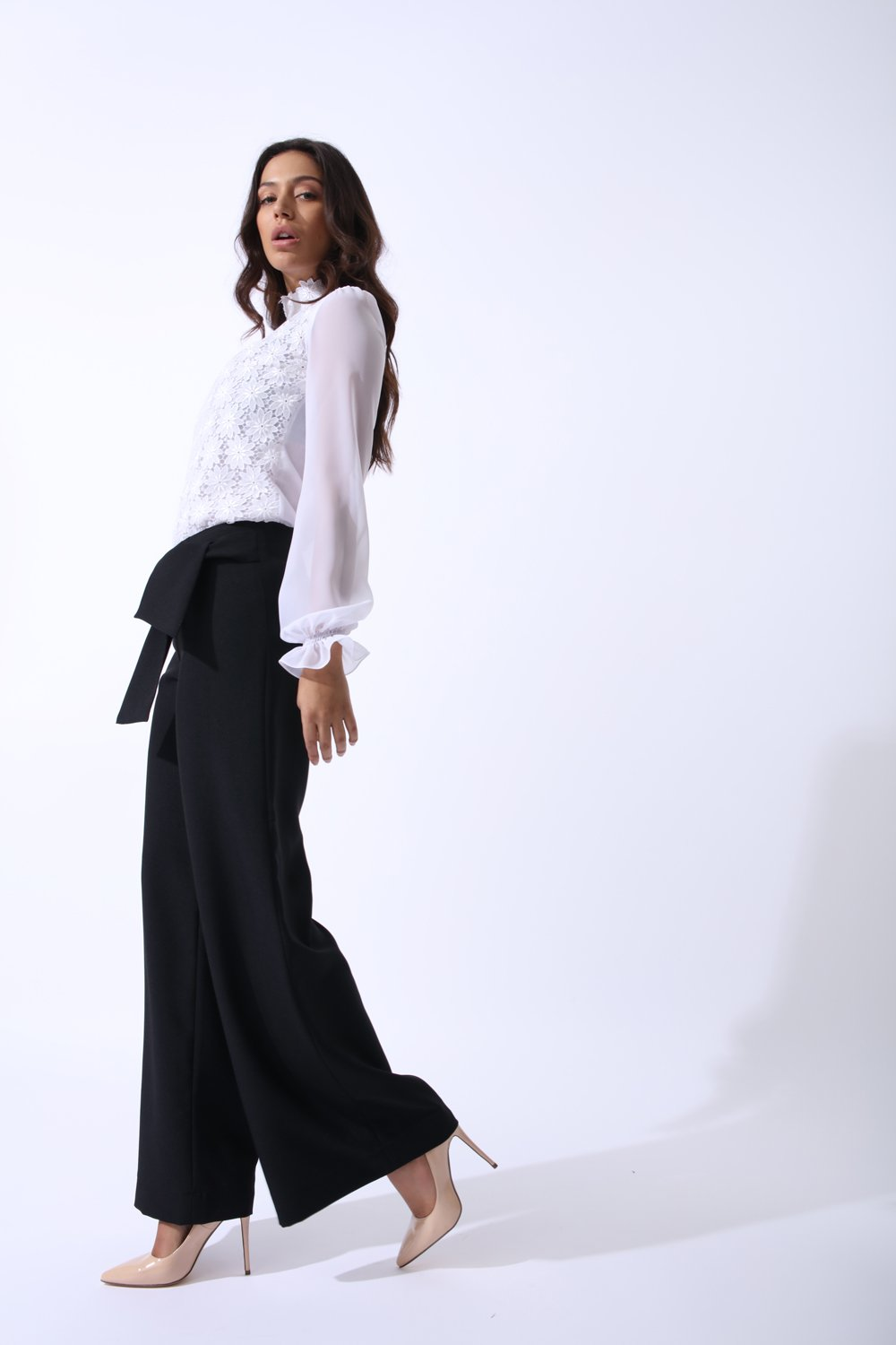 Swan Wide Leg Pants With Tie Feature In Classic Black
