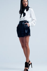 Black Satin Shorts With Waist Tie - KATANA FASHION BOUTIQUE