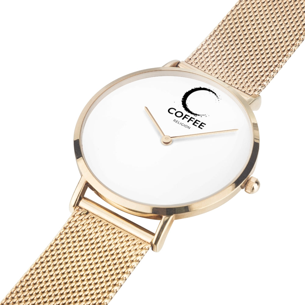 COFFEE RELIGION COFFEE TIME Rose Gold Minimalist Watch
