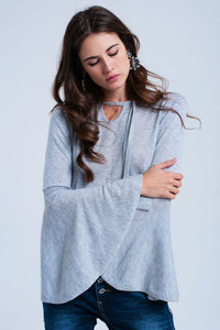 Gray Sweater With Bell Sleeves - KATANA FASHION BOUTIQUE