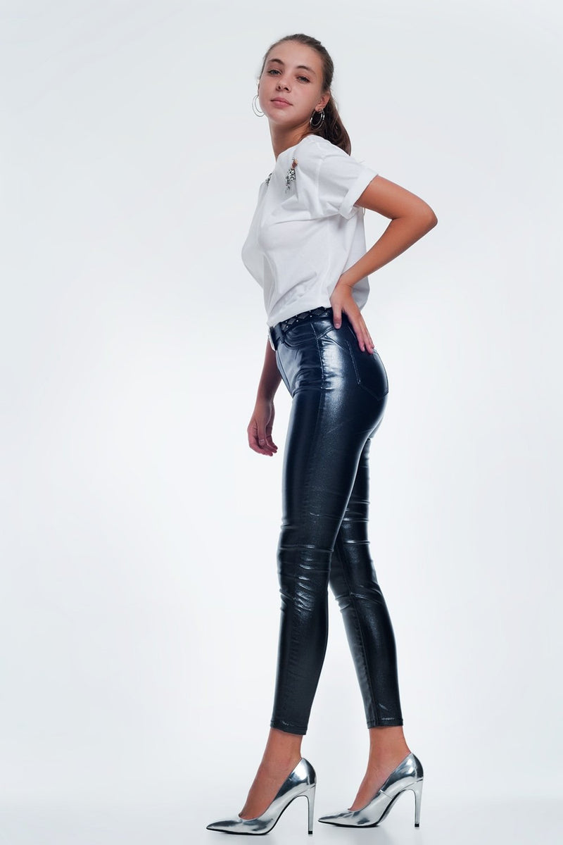 Grey Jeans With Shiny Detail - KATANA FASHION BOUTIQUE