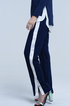 Navy Pants With Side Opennings and Hooks - KATANA FASHION BOUTIQUE