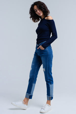 Q2 Navy Sweater Top with Cold Shoulders - KATANA FASHION BOUTIQUE