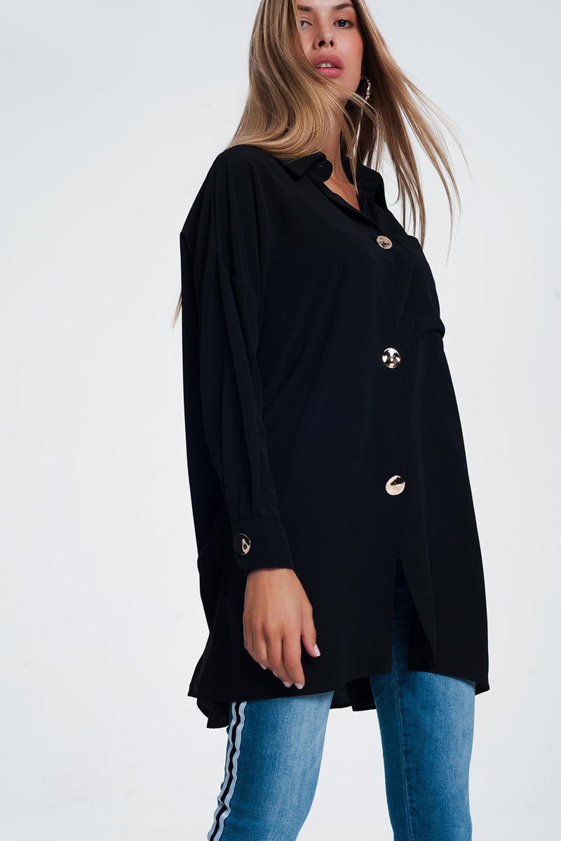 Oversized Long Sleeve Shirt With Vintage Button Detail in Black - KATANA FASHION BOUTIQUE