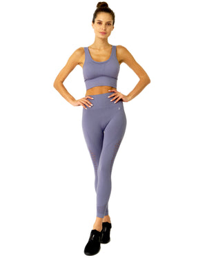 Mesh Seamless Legging With Ribbing Detail - Grey Purple - KATANA FASHION BOUTIQUE