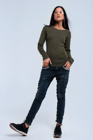 Khaki Sweater With Little Cuts - KATANA FASHION BOUTIQUE
