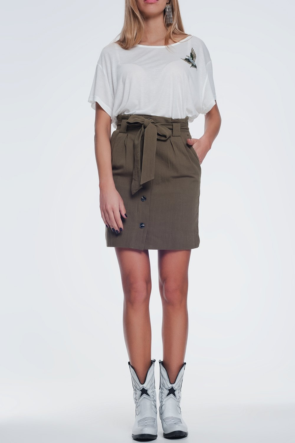 Mini Khaki Skirt With Front Buttons - KATANA FASHION BOUTIQUE