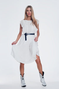 Speckle Midi Dress With Ruffle in White - KATANA FASHION BOUTIQUE