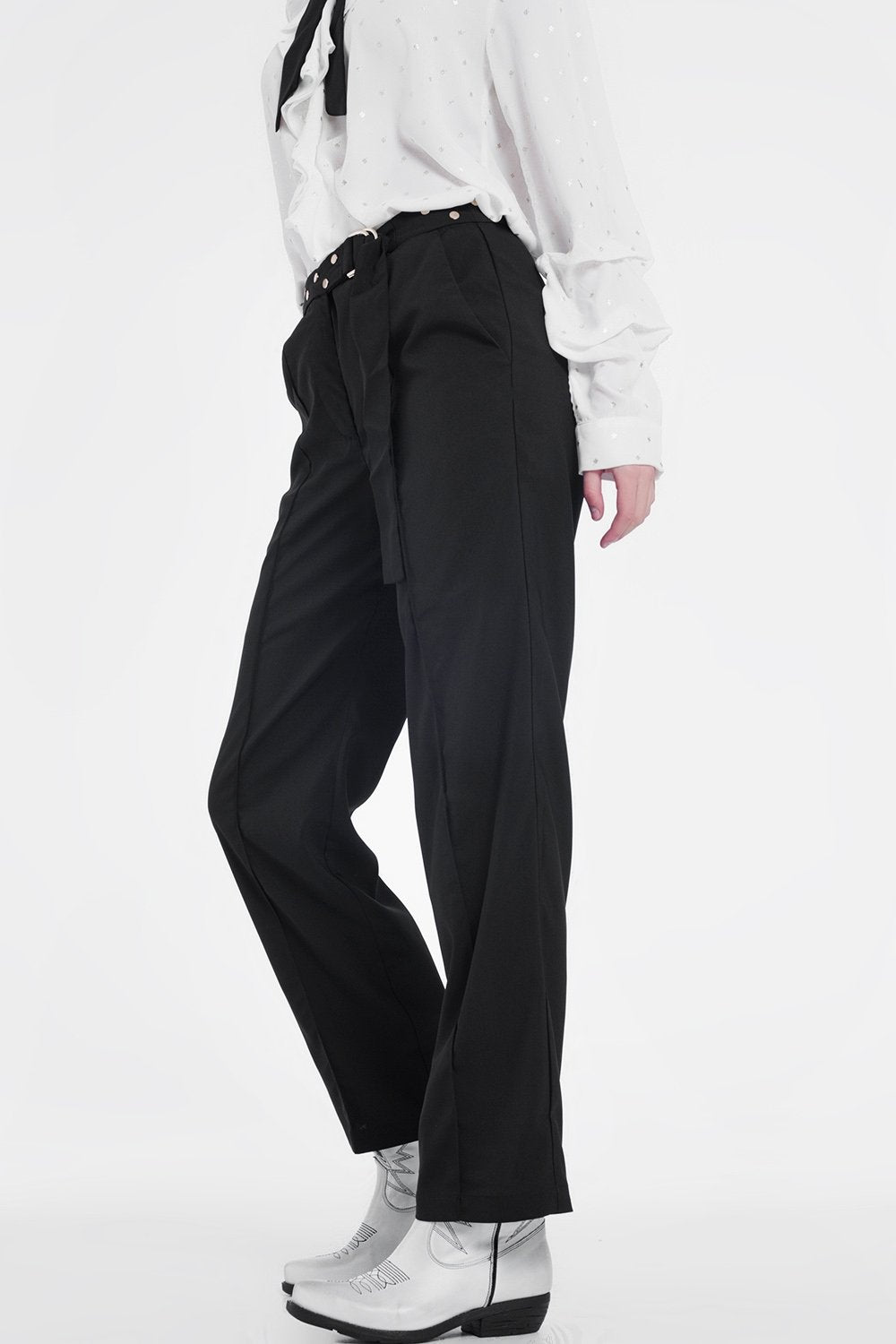 Black Pants With Wide Legs and Low Hem - KATANA FASHION BOUTIQUE