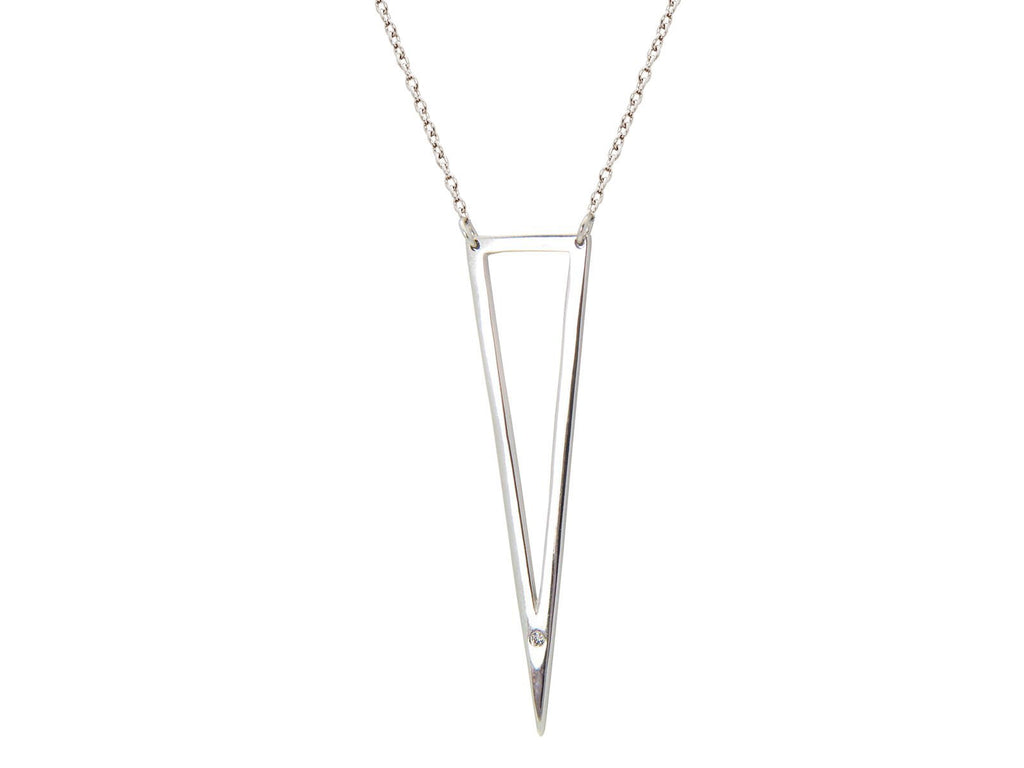 "Open Triangle Cz Pendant Necklace in Sterling Silver, 16""+2"" - KATANA FASHION BOUTIQUE"