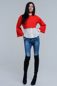 Red Knitted Crop Sweater With Bell Sleeves - KATANA FASHION BOUTIQUE