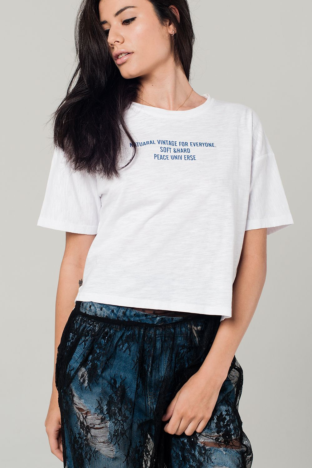 White t-shirt with text detail